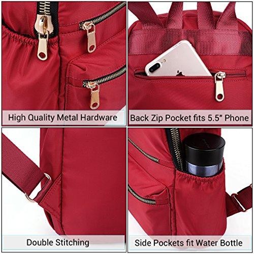 UTO Damen Mini Backpack Nylon Daily Rucksack Multi Reißverschluss Facher Convertible Crossbody Schultertasche Messenger Tasche rot_____