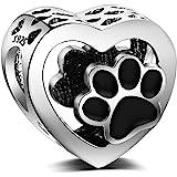 LaMenars Abalorios Charms Originales de Plata de Ley 925 Pata de Perro en Forma de Corazón Colgantes para Pandora & Europeo P