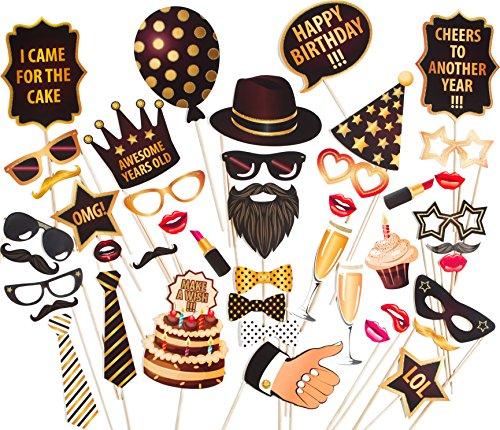 Booth Photo Aufblasbare (zezazu Happy Birthday Party Foto Booth Props Funny DIY Kit 44Stück Luxus Edition mit echten Glitzer)
