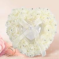 Romantic Heart-shaped Wedding Ring Box Rose Rhinestone Decor Ring Pillow Cushion for Ring Case Ring Bearer(Beige)