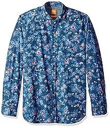 BOSS Orange Mens Cattitude Woven All Over Print Long Sleeve Shirt, Dark Blue, Medium