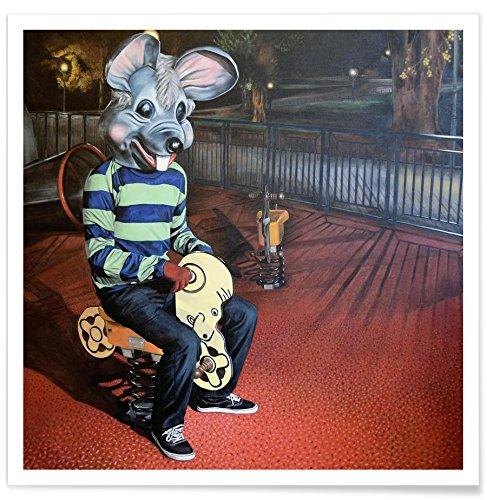 """JUNIQE® Poster 50x50cm Menschen - Design """"Quand Le Chat"""" (Format: Quadrat) - Bilder, Kunstdrucke & Prints von jungen Künstlern entworfen von Jérôme Romain"""
