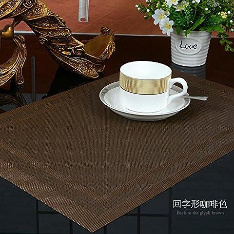 Yifom PVC tappetino anti-scivolo tabella isolante Tappetino lavabile verde, (Pelle Marrone 4 Coaster)