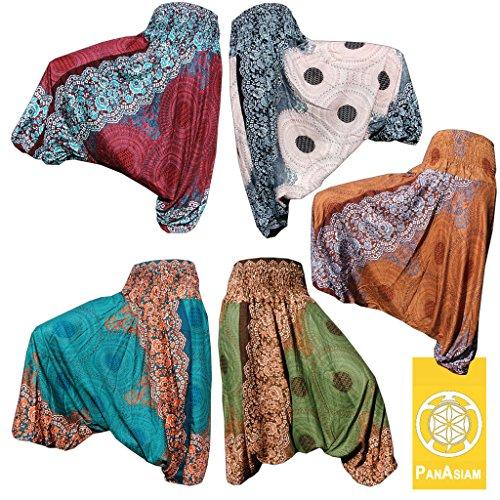 Panasiam Aladin Pants, Print-Design-style: 'V' Peacock (limitierte Auflagen) Naturstoff!! Das Original, Qualitätshose, hier zum Aktionspreis.. Mandala weiß