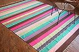 Mehrfarben Gestreifter Teppich. Flach Gewebter beidseitig verwendbarer Teppich aus 100% purer Bio-Baumwolle & natürlichen Färbemitteln. Größe: 180x240 cm / 6'x8' Large Code # 00138