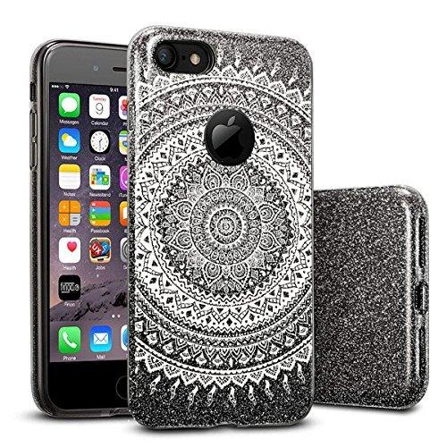 finoo | iPhone SE Schwarze bedruckte Rundum 3 in 1 Glitzer Bling Bling Handy-Hülle | Silikon Schutz-hülle + Glitzer + PP Hülle | Weicher TPU Bumper Case Cover | Katze auf Ast Kringel Henna 1