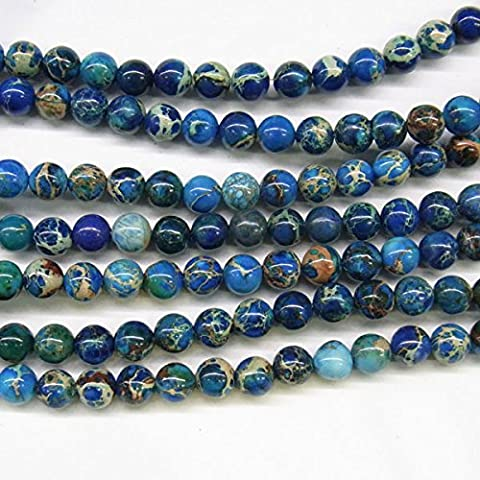 thetastejewelry 4mm Rund, Light Blue Sea Sediment Jasper Perlen 38,1cm 38cm Halskette Heilung Schmuck herstellen–4424