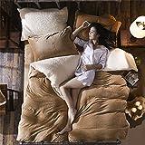 simonshop Super Soft Flanell Fleece Bettwäsche Set Queen King Size Luxus Dick Warm Bettbezug Sets, beige, King Size