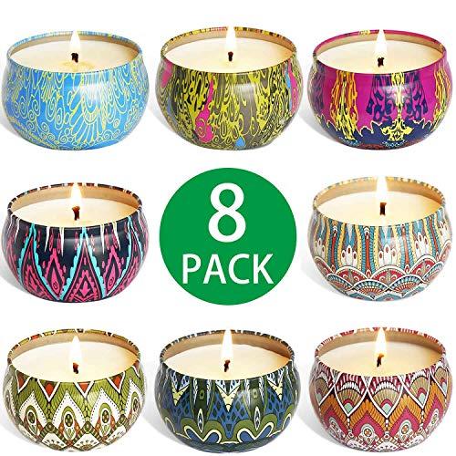 8 Stück Duftkerze Geschenke für Frauen, Jasmin,Lavendel, Rosa, Sojawachs Duftkerzen Set mit Angenehmer Duft Schön Kerzen für Aromatherapie Weihnachten und Hochzeiten