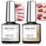 Modelones Soak Off UV LED Gel Nail Polish Fast Dry Base and No Wipe Top Coat Kit Set (10 ml)