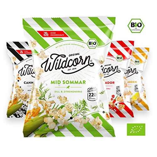 Wildcorn - salziges Popcorn - 4 Sorten Mix (8x50g) | gesunder Snack | leckere Alternative zu Chips | Superfood für Büro, Unterwegs, Kino | vegan | 100% Bio | ohne Zuckerzusatz | glutenfrei | Healthy Food | Wildpack