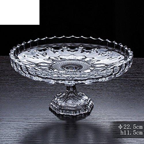 Salat Hände Olivenholz (Bleifreies Glas Obstschale [Hohe Kompott] Modernen europäischen Kuchen Teller und Salat Obstteller hoch-Kompott-A)