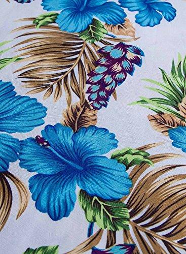 Futurino Femme Printemps/Été Décontracté Vintage Rétro Floraux 1950s Audrey Hepburn Swing Midi Robe de Soirée Plage Vacances Floral Bleu