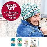 myboshi Mützen Häkelset Sommer Beanie Iga (85% Baumwolle 15% Kapok) Anleitung + Häkelgarn + selfmade Label Farben (aquamarin, meerblau, weiß, mit Häkelnadel)