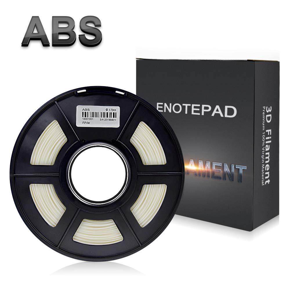 Enotepad Blanc ABS 3D Filament d'impression,Filament ABS pour imprimante 3D,précision Dimensionnelle +/- 0,02 mm, 1 kg/Bobine, 1,75 mm, Filament ABS pour imprimante 3D