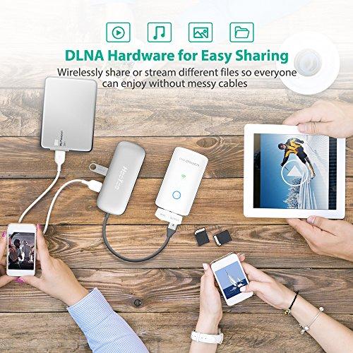 RAVPower FileHub Router WiFi Portatile, Ripetitore WiFi, Lettore per SD Card Fino a 256G, Hard Disk Wireless, Powerbank da 6000mAh, Hotspot, Access Point per Disco e Ciavetta USB, File Share, Bianco