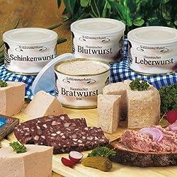 Schlemmerhaus Westfälische Spezialitäten (1,6 kg) Blutwurst, Bratwurst, Leberwurst, Schinkenwurst und ein Marken-Geschirrtuch
