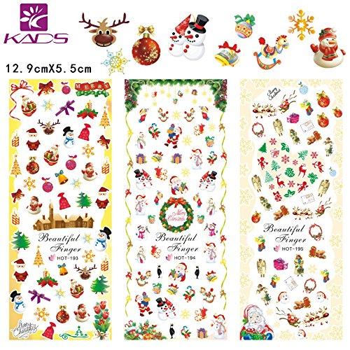 KADS 4Pcs Nailart Sticker Schneeflocken Weiß selbstklebend - Schnee, Winter, Weihnachten