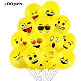 Goushy 100pcs Palloncini Colorati Emoji Emoticon per Compleanni Festa per Bambini,Natale,Party, Matrimoni, Nozze Decorazione