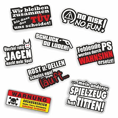 folien-zentrum 8 Aufkleber Set Shocker Hand Auto Aufkleber JDM Tuning OEM Dub Decal Stickerbomb Bombing Sticker Illest Dapper Fun Oldschool (Auto Aufkleber)