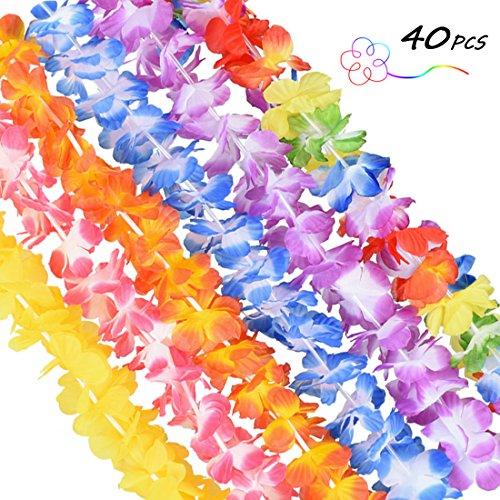 SUPRBIRD 40 Stück Blumenketten Hawaii Hawaiikette Halskette Lei Hula Girlande für Strand Thema Party