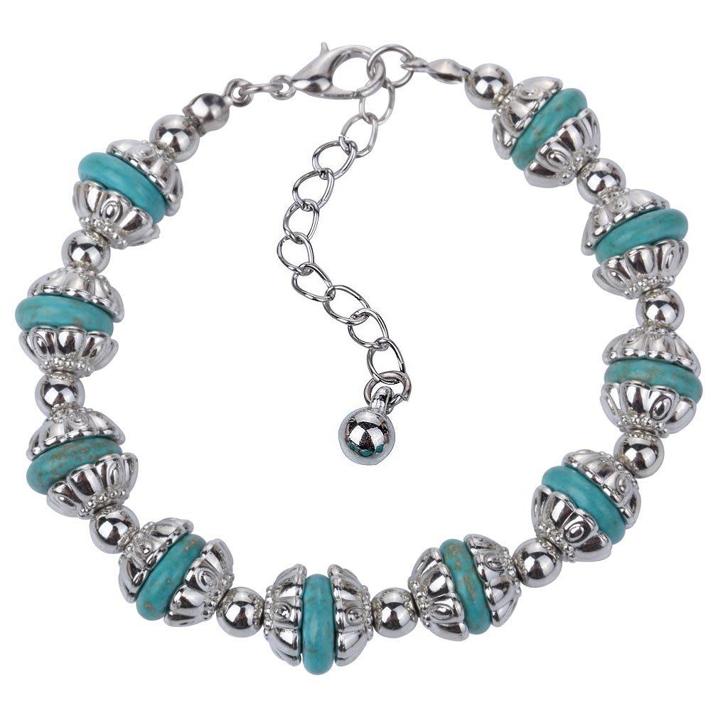 YAZILIND vendimia Rimous turquesa con cuentas Pulsera de cadena de plata tibetana del brazalete