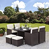 Rattan Cube Garden Furniture Set 8 seater outdoor wicker 9pcs with Parasol (Brown)