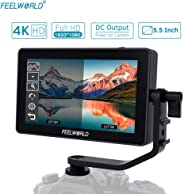 Andoer FEELWORLD F6 Plus 5.5 Inch On-Camera Field Monitor Kit 3D LUT Video Assist with Sunshade Tilt Arm Support 4K HD Input & Output 1920 * 1080 Pixels HD IPS for Canon Sony Nikon DSLR Camera