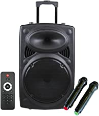 Qualimate 12 Inch Karaoke Bluetooth PA System Portable Trolley Speaker with 2 Wireless Mic, Remote Control, FM Radio and AUX/TF/USB