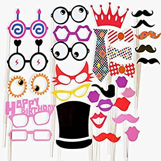 AsentechUK 31 PCS DIY Photo Booth Props Funny Wedding Photo Props With A Bamboo Stick Moustache Lips Christmas Party Top (31pcs)