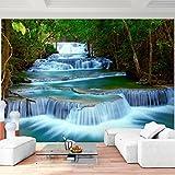 Fototapete Wasserfall 352 x 250 cm Vlies Wand Tapete Wohnzimmer Schlafzimmer Büro Flur Dekoration Wandbilder XXL Moderne Wanddeko - 100% MADE IN GERMANY - Blau Natur Runa Tapeten 9036011b