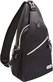 MOSISO Sling Backpack, Multipurpose Crossbody Shoulder Bag Travel Hiking Daypack, Black