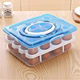 TQWMU Double Layer All In One Egg Storage Box/Food Storage Box/Vegetable Storage Basket/32 Grid Egg Holder With Tray Plastic Carrier Cases/Double Layer Egg Box