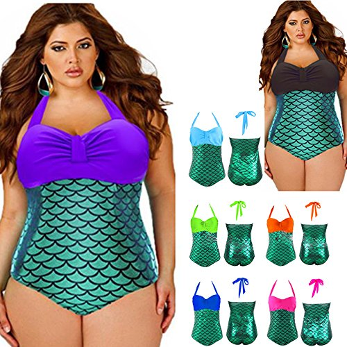 Hrph New Mermaid Design Frauen Lady One Piece Glitzer-Badeanzug-Strand-Set Overall Bademode Lake Blue
