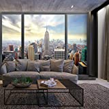 decomonkey | Fototapete New York Stadt City 350x256 cm XXL | Design Tapete | Fototapeten | Tapeten | Wandtapete | moderne Wanddeko | Wand Dekoration Schlafzimmer Wohnzimmer Fenster | FOA0015a73XL