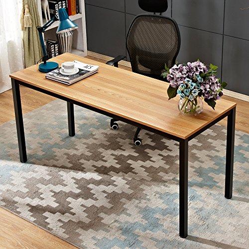 Need Computertisch Schreibtisch Extra Großer XXL Arbeitstisch Bürotisch Konferenztisch Esstisch PC-Tisch aus E1 Massivholzspanplatte Mit Größe Von 160x60CM,Teak&Schwarz