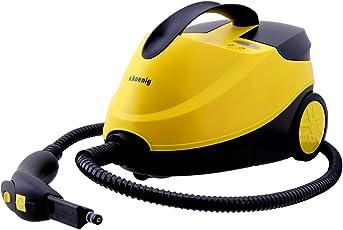 H.Koenig NV6200 Hochdruck Dampfreiniger / 1,5 L Wassertank / mit Zubehörpaket / 4 bar / 2000 W / gelb