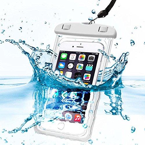 Oramics 100% wasserdichte Schutzhülle Handyhülle – für Unterwasserfotografie – inklusive Trageschlaufe, Wasserdichter Beutel für Handy und Kamera, Handytasche, Unterwasserhülle, Urlaubshülle für den Strand (Weiß)