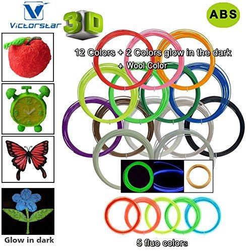 Pluma 3D Filamento ABS – VICTORSTAR 20 Colores, 32.5 pies (10 metros) cada uno Impresión 3D de Pluma Filamento 1.75 mm Total de 650 pies (200 metros), 2 Brillando en la oscuridad y 5 Fluorescentes Colores Incluidos