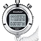 BizoeRade Silent Stopwatch, Metal Digital Sports Stopwatch with Countdown Timer, 100 Lap Memory, Large Display, Alarm Clock