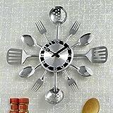 Contemprary Kitchen Utensil Clock-Silver-Toned Forks, Spoons, Spatulas Wall Clock - Kitchen Décor, Unique Fun Gift