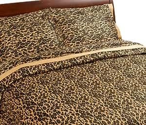 Royal Collection 300 fils au pouce carré 2 Parure de lit avec housse de couette Imprimé léopard