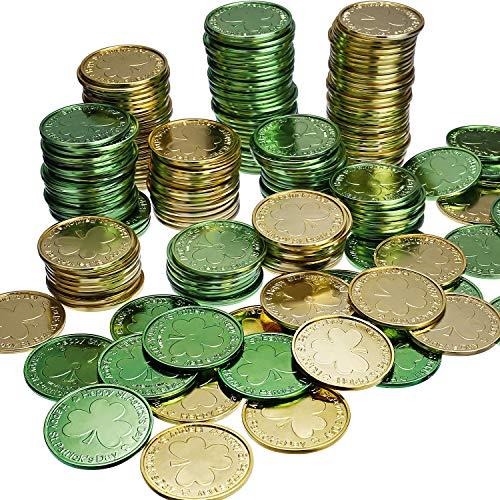 Chuangdi Glückliche Plastik Münze St. Patrick's Day Münzen Shamrock Münzen Grün und Gold Münzen St. Patrick's Day Party Favor (60)