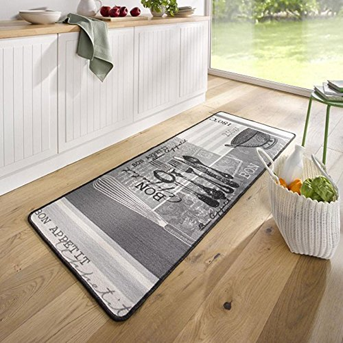 Hanse Home 102619 Teppichläufer, Polyamid, grau / weiß, 67 x 180 x 0.8 cm