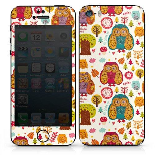Apple iPhone 4s Case Skin Sticker aus Vinyl-Folie Aufkleber Eulen Bunt Wald DesignSkins® glänzend