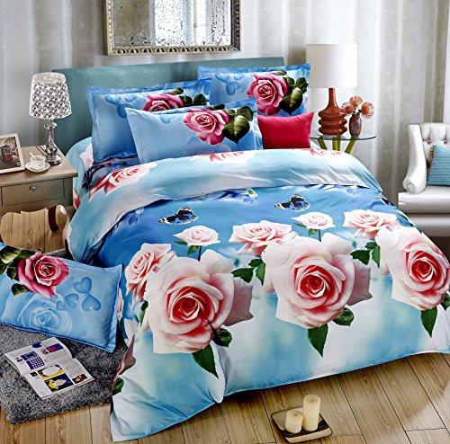 4Piece Rose Blumen blau lila bedruckte 3D Betten Set: Steppbett Tröster Abdeckung für Doppel-Größe