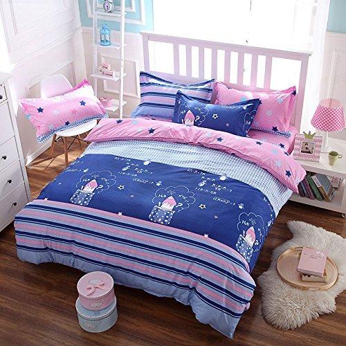 Baumwolle Queen-size-blatt-sets (4Streifen Cartoon Gedruckt Bettwäsche Blatt-Set Bettbezug (ohne Tröster) Kissen Twin Full Queen Size)