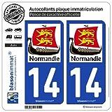 blasonimmat 2 Autocollants Plaque immatriculation Auto 14 Normandie - Drakkar