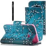 Slynmax Schwarz PU Leder Tasche Flip Case Schutzhülle Kompatibel mit Samsung Galaxy A3 2017 Wallet Hülle Etui Blume Leather Brieftasche Lederhülle im Bookstyle Ledertasche Handyhülle Ständer