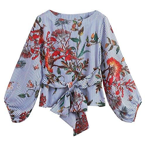Moonuy Frauen Long Sleeve Tops Frauen Druck T-Shirt Laterne Ärmel Belted Mixed Striped Herbst Casual Floral LooosBlouse Bekleidung (EU 34 / Asien S, Blau) Belted Bikini-top